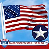 G128 American Flag Embroidered Stars Sewn Stripes Brass Grommets 210D Quality Oxford Nylon