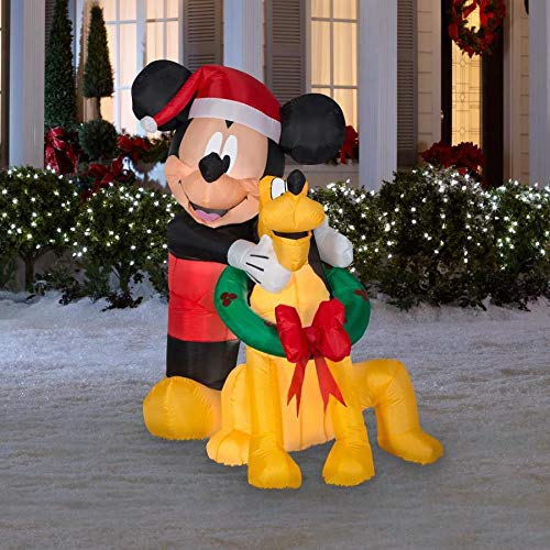 Gemmy Disney 5 Ft. Mickey Mouse and Pluto Christmas Inflatable Indoor/Outdoor Holiday Decoration