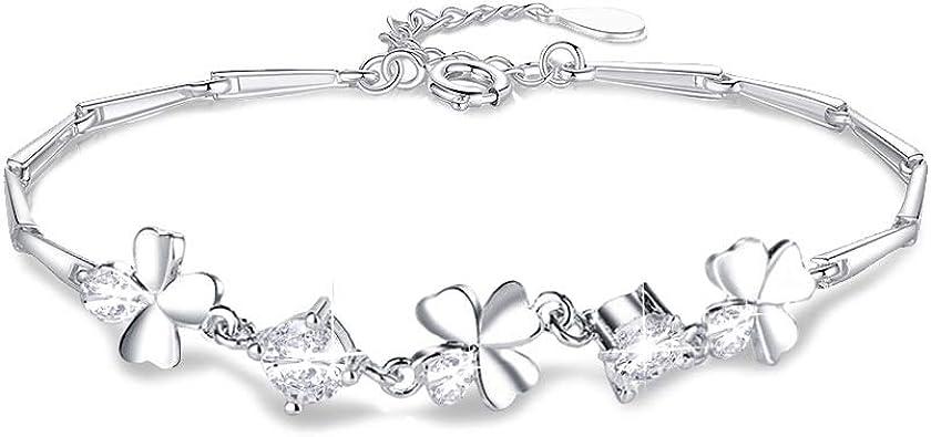 WikiMiu Bracelet Femme en Argent 925 en Forme de Tr/èfle /à Quatre Feuilles Bijoux Fantaisie Cadeau pour Femme Fille pour Anniversaire Saint-Valentin et F/êtes
