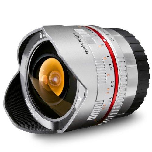 Walimex Pro 8mm 1:2,8 CSC Fish-Eye-Objektiv (feste Gegenlichtblende, UMC Linsen, große Tiefenschärfe) für Fuji X Objektivbajonett silber