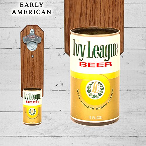 Wall Mounted Bottle Opener with Vintage Ivy League Beer Can
