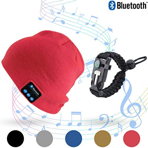 Stone & Pine Bluetooth Beanie with Emergency 5 in 1 Paracord Bracelet, Wireless Cap Rechargeable Stereo Headset hat with mic & USB. Paracord Bracelet with Compass, Blade, Whistle & Rope. (Red) -