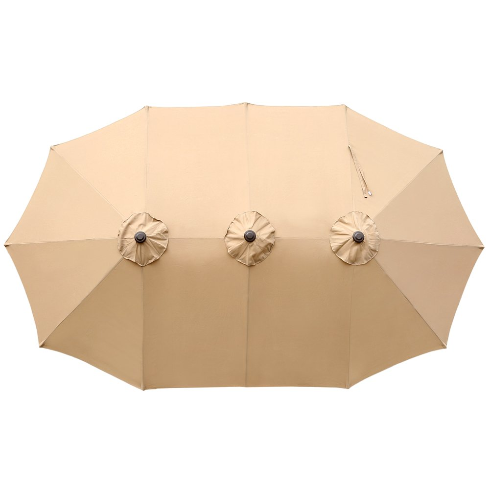 Le Papillon 14 ft Double Sided Outdoor Patio Umbrella Replacement Canopy Top Cover, Beige