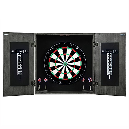 - Hathaway Drifter Solid Wood Dartboard Cabinet - Reclaimed Pine with Distressed Timberwood Finish, Sisal Fiber for Steel Tip Darts