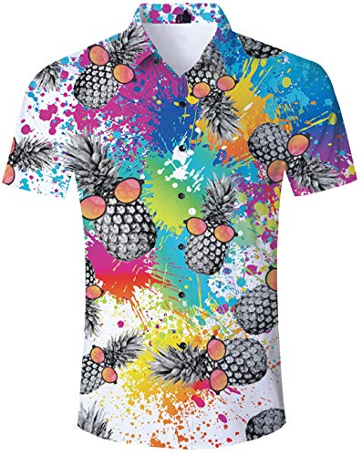 Island Aloha Shirt - Funny Hawaiian Shirt 3D Graphic Tie Dye Painting 90s Awesome Short Sleeve Aloha Top Summer Beach Party Pineapple Wear Sunglasses Blouses Birthday Party Holiday Island Polo Attire