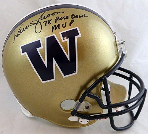 (Warren Moon Autographed Washington Huskies Full Size Gold Replica Helmet