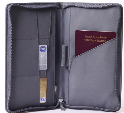 Lexon Unisex Airline Passport Holder With Zippered Closure Wool Black (9.1x4.9x0.8'', Wool/Grey)