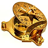 Vintage London Brass Sundial Compass Marine Ship Astrolabe Compass Decor 4''