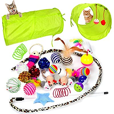 Youngever 24 Cat Toys Kitten Toys Assortments 2 Way Tunnel Cat Feather Teaser Wand Interactive Feather Toy Fluffy Mouse Crinkle Balls