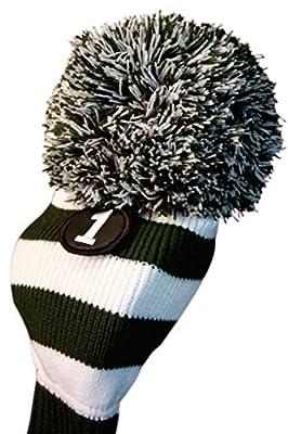 MAJEK #1 460cc Driver Green & White Golf Headcover Knit Pom Pom Retro Classic Vintage Head cover