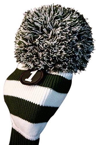 MAJEK #1 460cc Driver Green & White Golf Headcover Knit Pom Pom Retro Classic Vintage Head cover (460cc Driver)