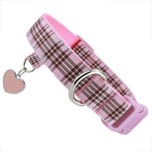 Pink Plaid Furberry Dog Collar with tab for Dog ID, Charm
