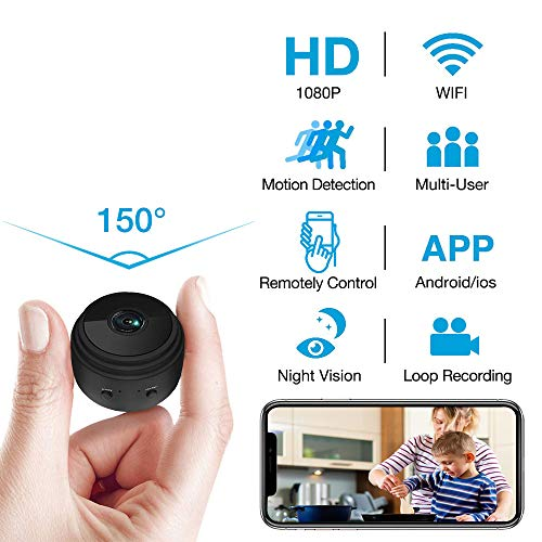Hidden Camera WiFi Wireless HD 1080P Live Stream Mini Camera with Motion Detection Smart Alarm and Night Vision Indoor Covert Security Camera for Home, Car and Office
