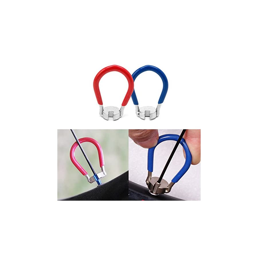 Fomei 2 Pack Bike Spoke Tool Bicycle Spoke Wrench Cycling Pocket Tools 6 in one Bike Rim Correct Kit,Red and Blue