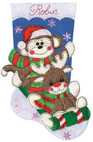 Monkey Design Sock Embroidery (Tobin Sock Monkey Stocking Felt Applique Kit, 18-Inch Long)