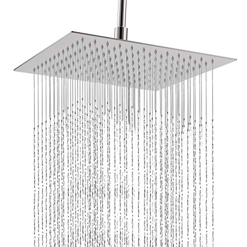 12 Inch Shower Head, Qunlife Rain Shower Head 360 Degree Adjustable High Pressure Shower Head, Ultra Thin Rainfall Showerhead with Self-Cleaning Silicone Nozzle for Bathroom & Hotel (12 inch Square)