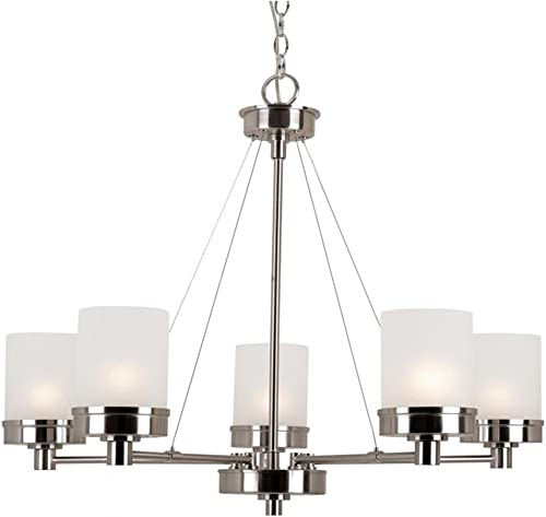 Trans Globe Imports 70338 BN Transitional Five Light Chandelier from Fusion Collection in Pwt, Nckl, B S, Slvr. Finish, 27.50 inches, One Size, Brushed Nickel