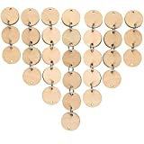 Bememo 100 Pieces Round Wooden Discs with Holes Birthday Board Tags and 100 Pieces 15 mm Rings for Arts and Crafts (3CM)