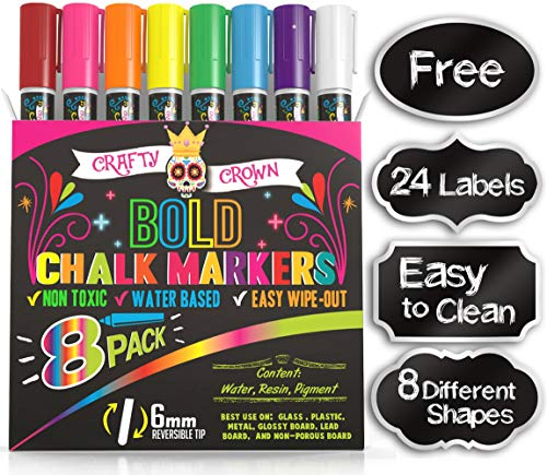 Liquid Chalk Markers for Blackboards - Bold Color...