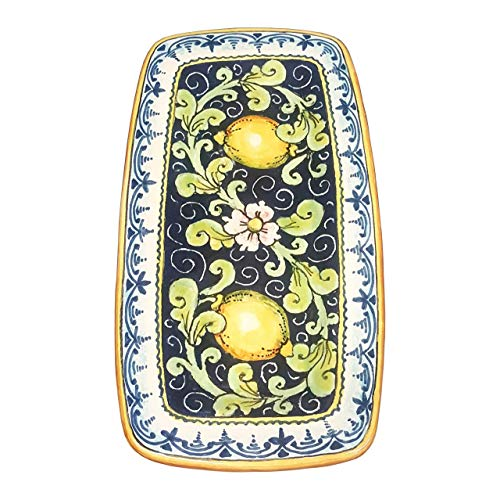 CERAMICHE D'ARTE PARRINI - Italian Ceramic Art Tray Plate Pottery Hand Painted Decorated Lemons Made in ITALY Tuscan - Hand Painted Italian
