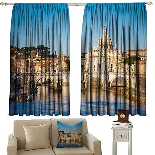 Mannwarehouse Simple Curtain View on Tiber and St Peter Basilica Home Garden Bedroom Outdoor Indoor Wall Decorations 63