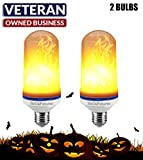 ALL NEW 2018 RoCaFutures LED Flame Effect Light Bulbs 2 Pack Fire Stimulation Light bulbs With Flickering Effect–Home, Bar & Hotel Decoration For A Warm, Relaxing, Romantic Atmosphere–3 Modes–E26 Base