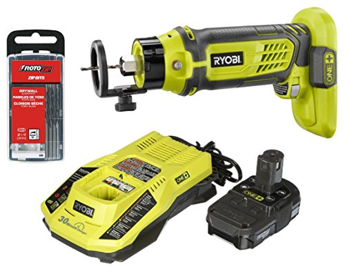 Ryobi P531 18-Volt ONE+ Speed Saw Rotary Cutter with Charger, Lithium-ion Battery and Rotozip GP8 (8-Pack) 1/8 in. Drywall Guidepoint Cutting Bits. Bundle. by Ryobi