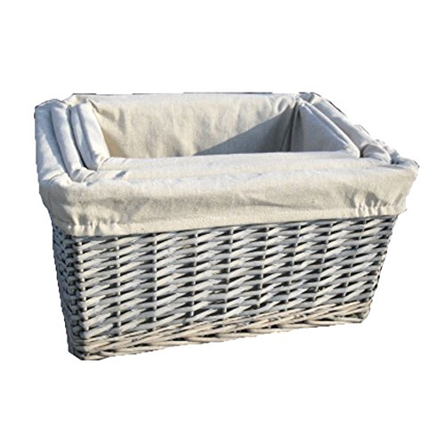 Set of 3 Provence Lined Wicker Storage Baskets by Red Hamper