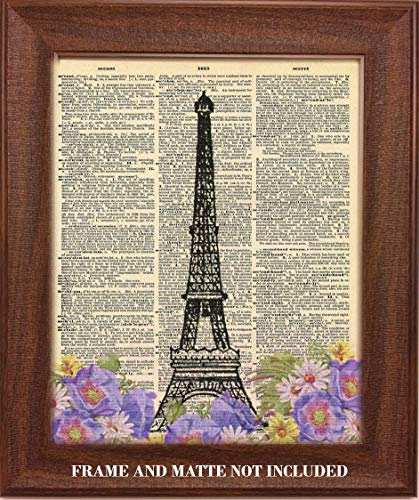 Eiffel Tower Paris France Upcycled Dictionary Art - 8 x 10 Unframed Print - Unique Gift for World Travelers, Architects and Collectors - Home, Office, Travel Agents Wall Decor