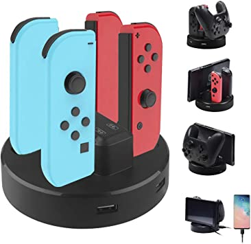 SUPERSUN 8 en 1 Dock de Cargador para Nintendo Switch Joy-con ...
