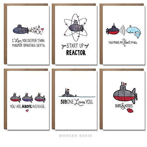 (Submarine Sweetheart Cards by Modern Rosie - Set of 12)