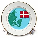 3dRose cp_37583_1 The Map and Flag of Denmark with Denmark Printed in English and Danish-Porcelain Plate, 8-Inch