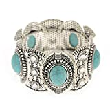 ElfKat ~ BOHO Statement Bracelet Tibetan Silver & Faux Turquoise ~ Stretch Style ~ Chic Gift For Women