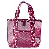 DOUN Mesh Beach Tote Bags Large Capacity Clothing Cosmetic Storage Bag Outdoor Shoulder Bag