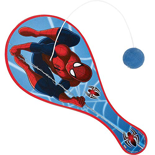 HollyDel (4x Pcs) Spider-Man Paddle Ball; Novelty Favors for Easter Theme Party, Easter Eggs Hunt Fillers, Easter Basket Stuffers, Classroom Prize Supplies and Birthdays