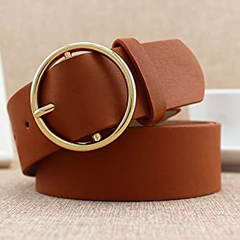 Classic Round Buckle Ladies Wide Belt Women Casual Leather Belts For Jeans