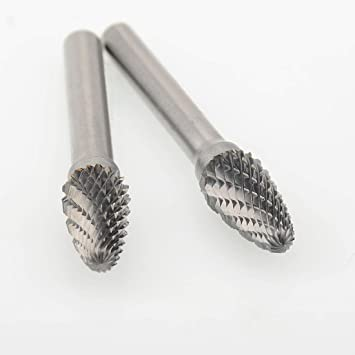 5 Pcs 10MM Head Tungsten Carbide Rotary Burr Set Cylinder Shape Double Cut Rotary Burrs File with 1//4 Shank