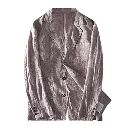 haoricu Men's Long Sleeve Blouse Button Down Slim Fit Linen Blend Pocket T Shirt Men Casual Tee Brown