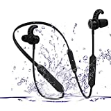 Bluetooth Headphones 4.2,KSHOP wireless sports Earbuds IPX7 Waterproof HD stereo Bluetooth sports headset Call 14 hours Rear-mounted sports wireless Music Headset (Black)