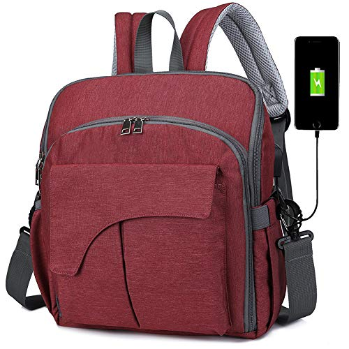 Diaper Bags for Mom and Dad Short Trip Backpack Purses Baby Nappy Changing Bags with USB Charge
