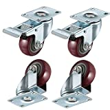 bayite 4 Pack 3'' Heavy Duty Caster Wheels Polyurethane PU Swivel Casters with 360 Degree Top Plate 500lb Total Capacity for Set of 4 (2 with Brakes& 2 without) Red