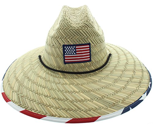 JFH Men's Pierside Sonoma Patriotic Inspired Straw Sun Hat (One Size Fits Most, Square Flag w/underbrim (American Protection)