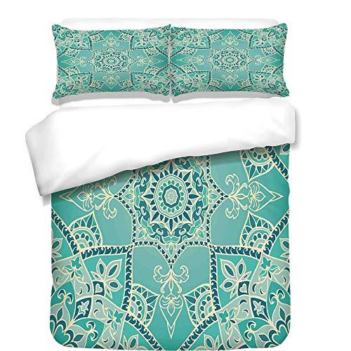 iPrint 3Pcs Duvet Cover Set,Turquoise,Arabic Islamic Persian Ottoman Motifs Turkish Iranian Ethnic Artsy Mandala Boho,Yellow Blue,Best Bedding Gifts for Family/Friends -
