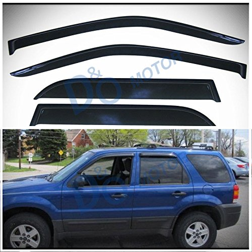 D&O MOTOR 4pcs Front+Rear Smoke Sun/Rain Guard Outside Mount Tape-On Vent Shade Window Visors For 01-07 Ford Escape