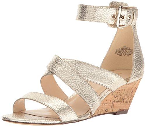 Nine West Women's Piwow Metallic Wedge Sandal, Gold, 10 M US