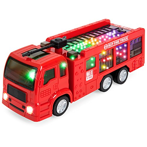 Best Choice Products Kids Toy Fire Truck with Electric Flashing Lights, Siren Sound, Bump & Go Action, Red ()