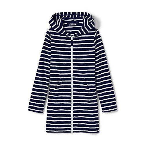 Lands' End Girls Stripe Kangaroo Pocket Swim Cover-Up, M, Deep Sea Breton Stripe