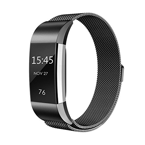 Fitbit Charge 2 Bands Metal ,Teorder Replacement Band/Fitness Accessory Strap for Fitbit Charge 2/Fitbit Charge 2 HR, Adjustable Stainless Steel Milanese with Unique Magnet Clasp Large & Small