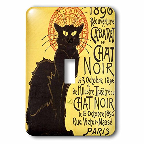 Le Chat Switchplate - 3dRose LLC lsp_99416_1 Vintage French Chat Noir Black Cat Art Single Toggle Switch