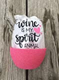 Wine Is My Spirit Animal Wine Glass, Glittered Wine Glass, 21oz Wine Glass, Custom Glitter Glass, Wine Glass, Funny Wine Glass